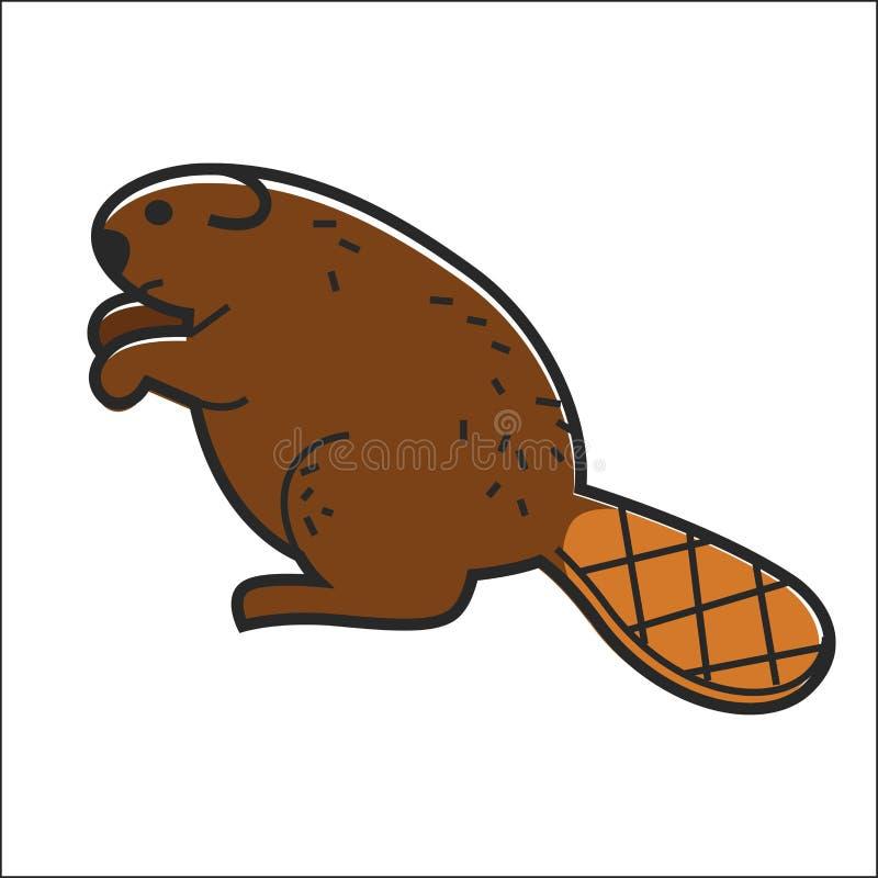 El vector canadiense del castor aisló el símbolo animal tradicional de Canadá stock de ilustración
