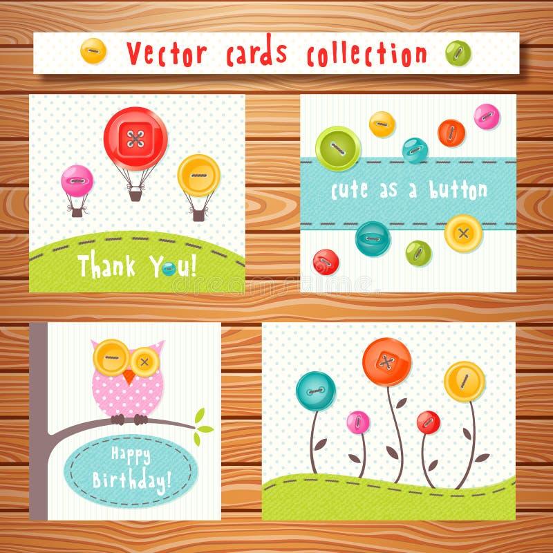 El vector carda la colección con los botones lindos perfecto stock de ilustración
