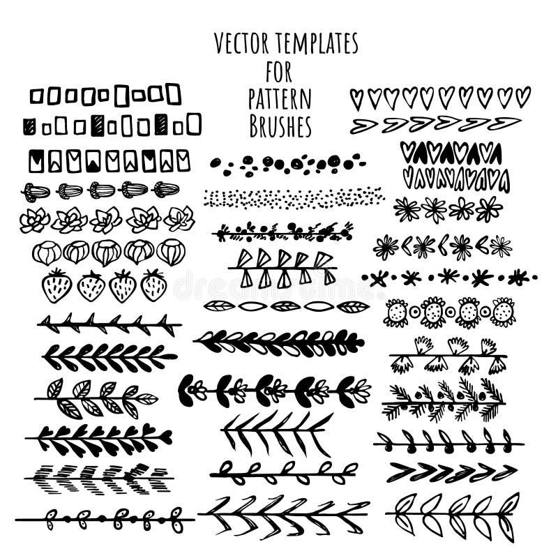El vector cepilla las plantillas fijadas Haga un cepillo con esta plantilla libre illustration