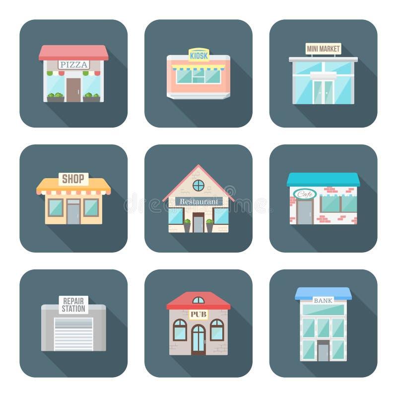 El vector coloreó diversos iconos de los edificios del estilo plano fijados ilustración del vector