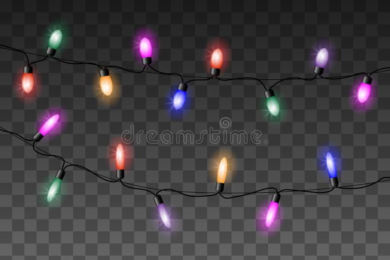 El vector colorido de las luces de la Navidad fijó en fondo transparente ilustración del vector