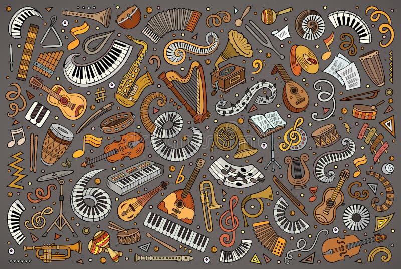 El vector colorido garabatea el sistema de la historieta de objetos clásicos de los instrumentos musicales ilustración del vector