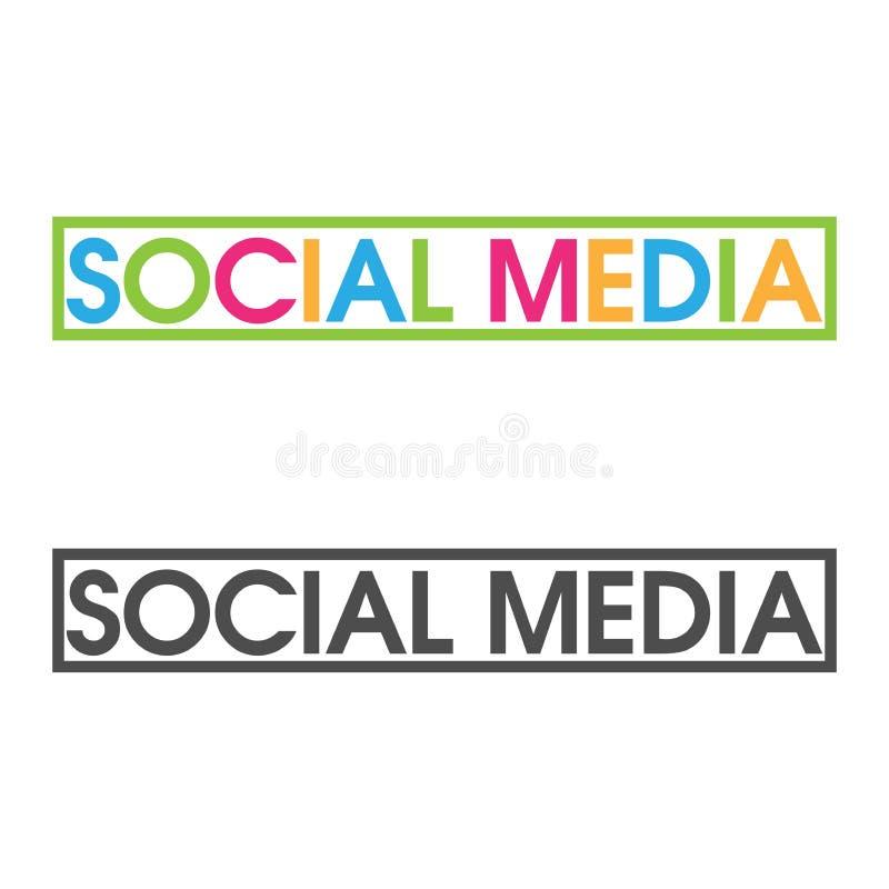 El vector colorido pone letras al icono vector social de la palabra medios libre illustration