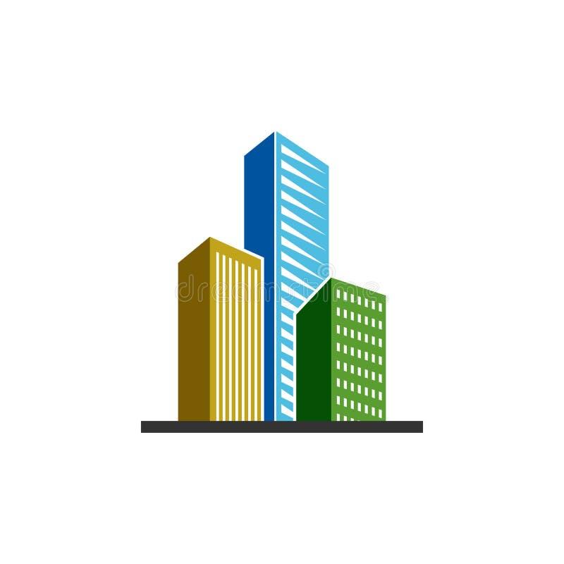 El vector constructivo de la plantilla del diseño del icono de las propiedades inmobiliarias aisló libre illustration