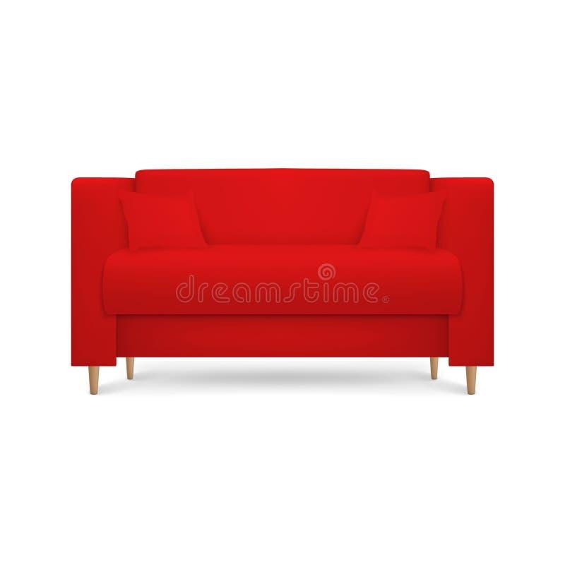El vector 3d realista rinde el sofá de lujo de cuero rojo de la oficina, sofá con las almohadas en el estilo moderno simple para  stock de ilustración