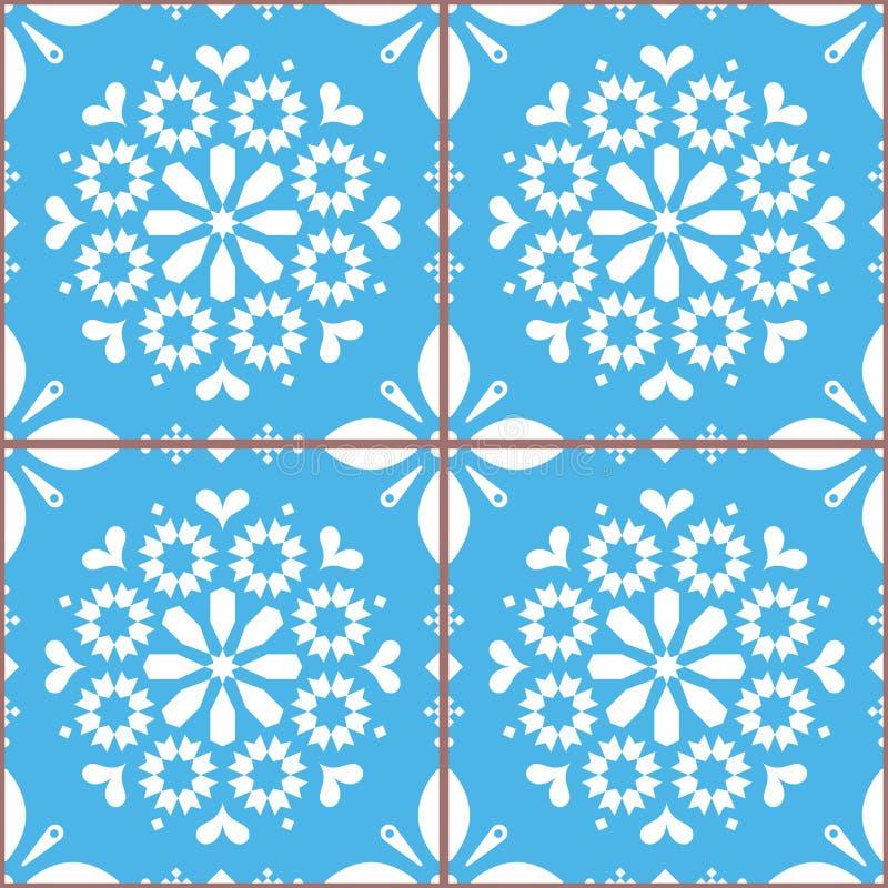 El vector de Azulejo teja el modelo inconsútil inspirado por el arte portugués, fondo azul de la teja del estilo de Lisboa ilustración del vector