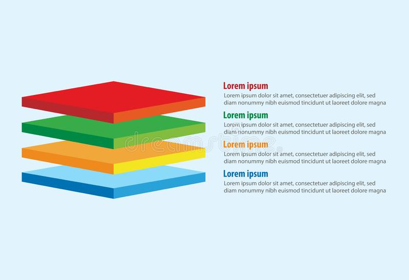 El vector de cuatro 3D ajusta la plantilla infographic de las capas libre illustration