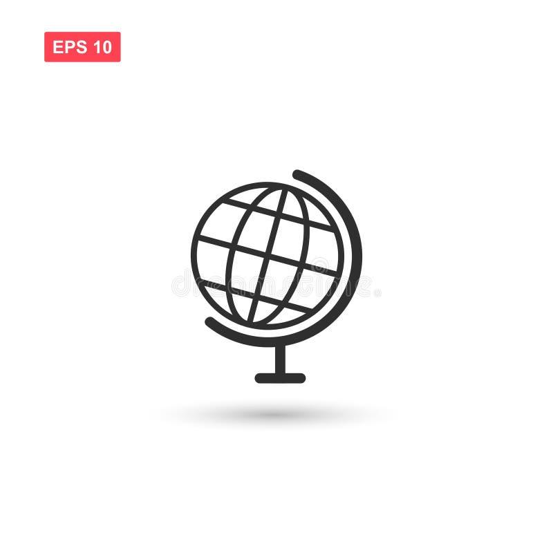 El vector de escritorio del icono del globo de la tierra del mundo aisló 3 ilustración del vector