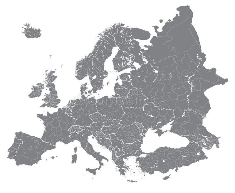 El vector de Europa arriba detalló el mapa político con las fronteras de las regiones Todos los elementos separados en capas desm stock de ilustración