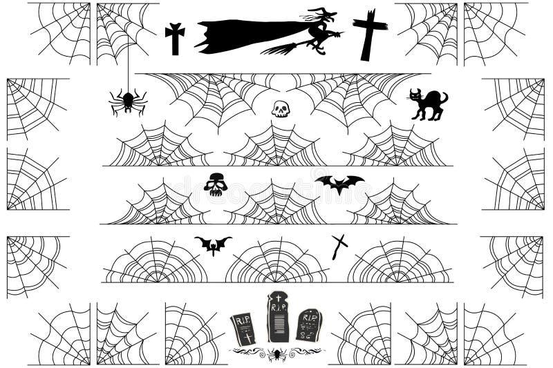 El vector de Halloween Spiderweb confina y arrincona el marco stock de ilustración