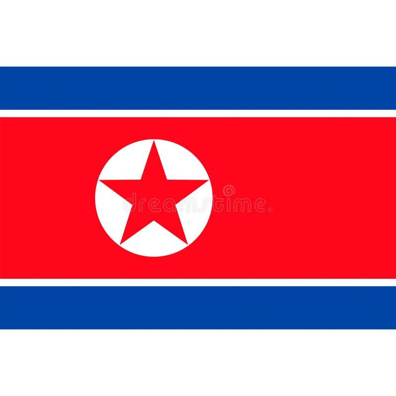 El vector de la bandera de Corea del Norte aisló ilustración del vector