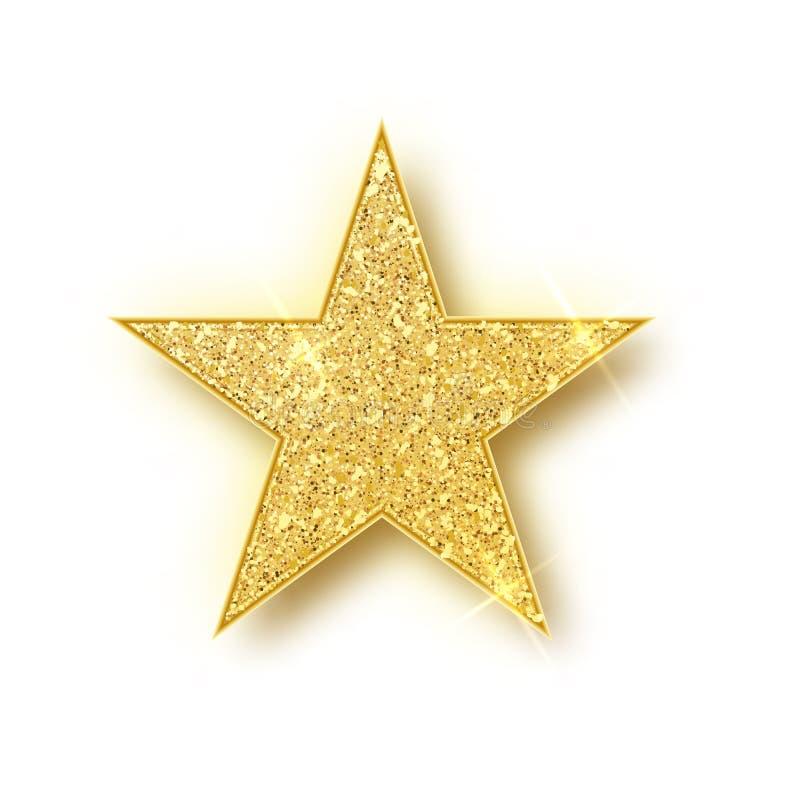 El vector de la estrella del brillo del oro aisló El elemento de lujo del diseño de la chispa de oro aisló r A stock de ilustración