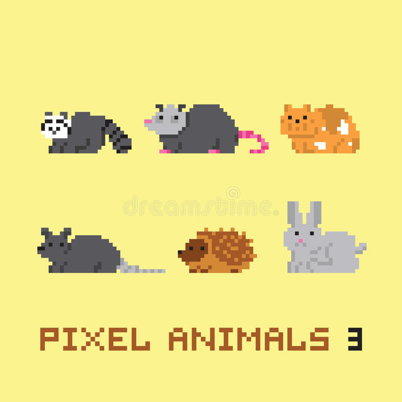 El vector de la historieta de los animales del estilo del arte del pixel fijó 3 libre illustration