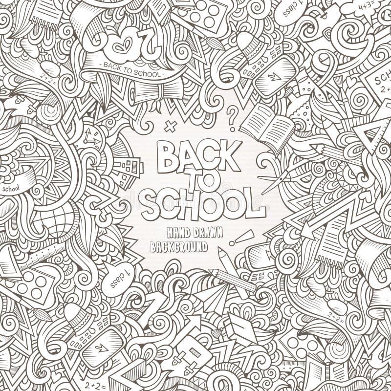 El vector de la historieta garabatea el marco dibujado mano de la escuela stock de ilustración