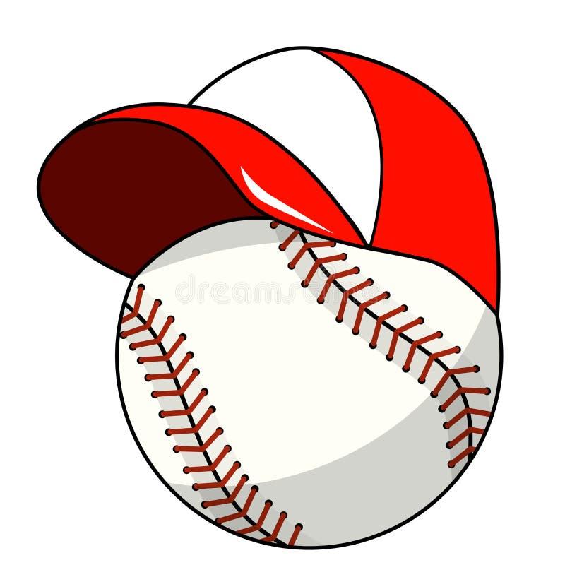 El vector de la historieta de la mascota del carácter del casquillo de la bola del béisbol aisló ilustración del vector