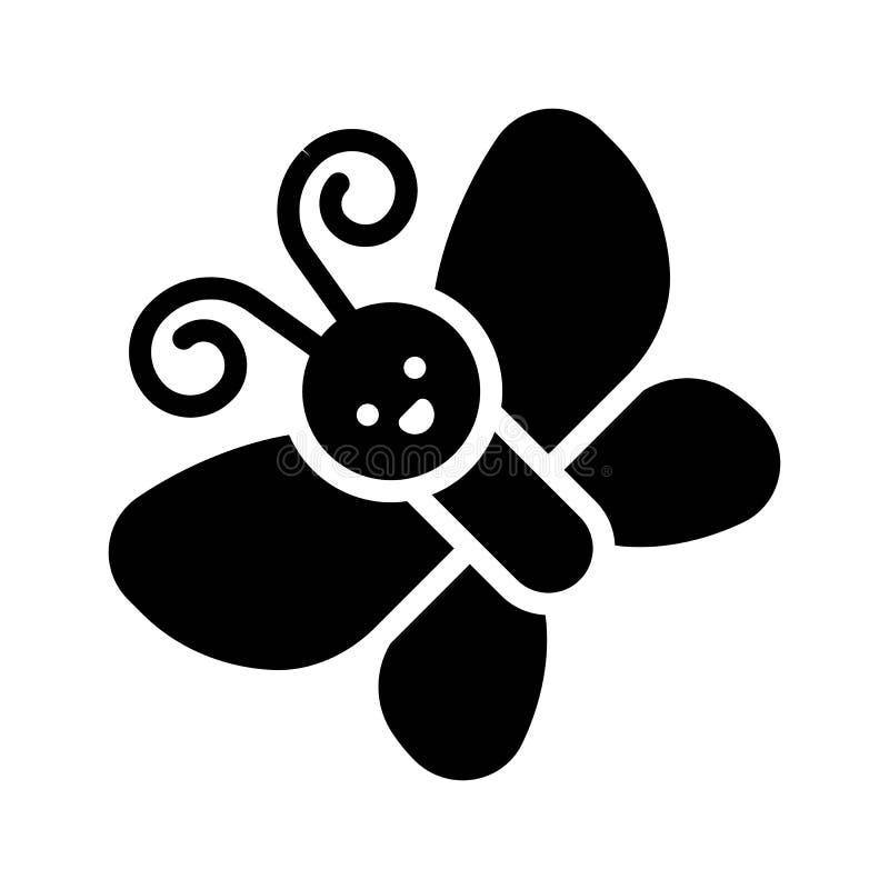 El vector de la mariposa, aisló el icono sólido de la estación de primavera stock de ilustración