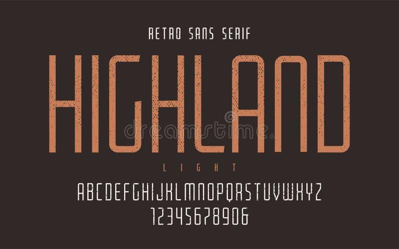 El vector de la montaña condensó la tipografía retra ligera, letra mayúscula libre illustration