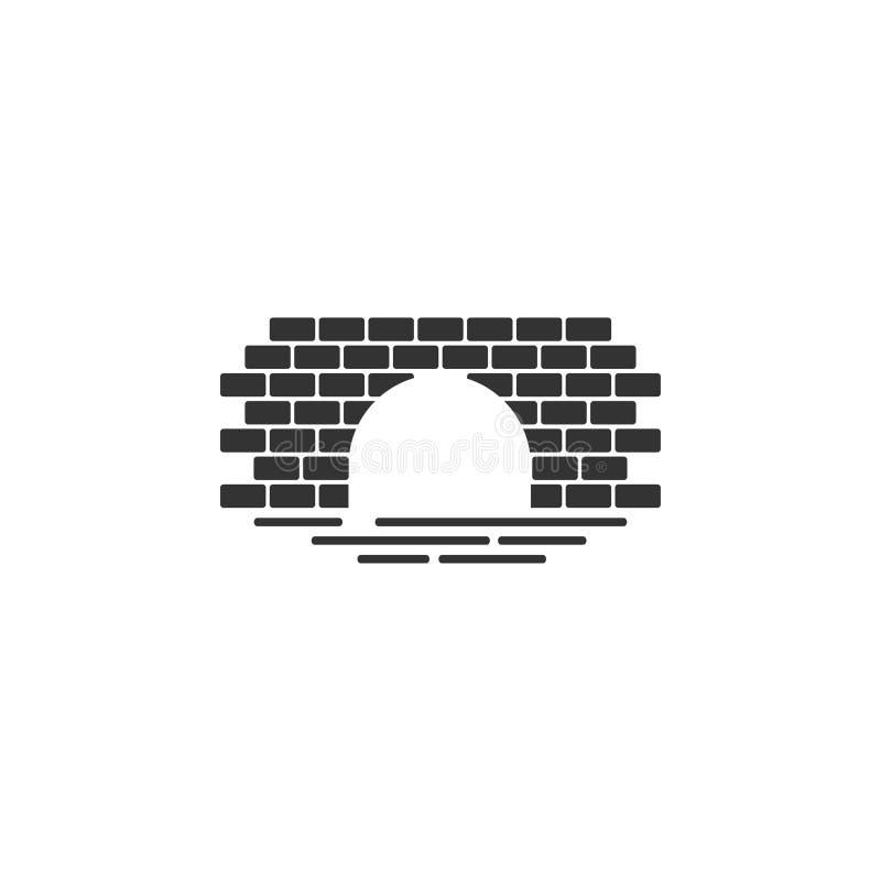 El vector de la plantilla del diseño gráfico del icono del puente del ladrillo aisló libre illustration
