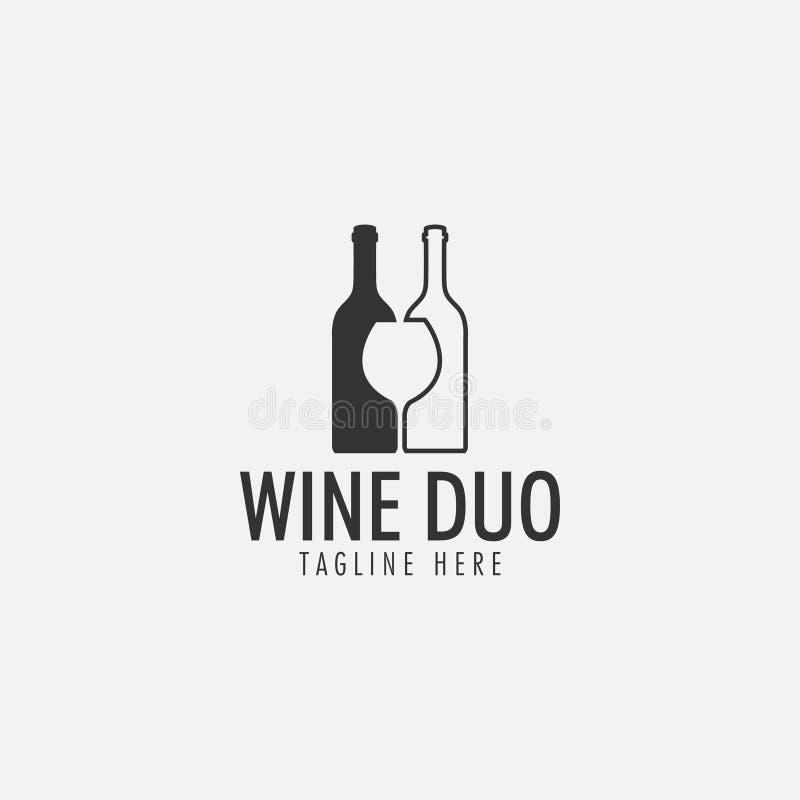 El vector de la plantilla del diseño del logotipo del dúo del vino aisló stock de ilustración