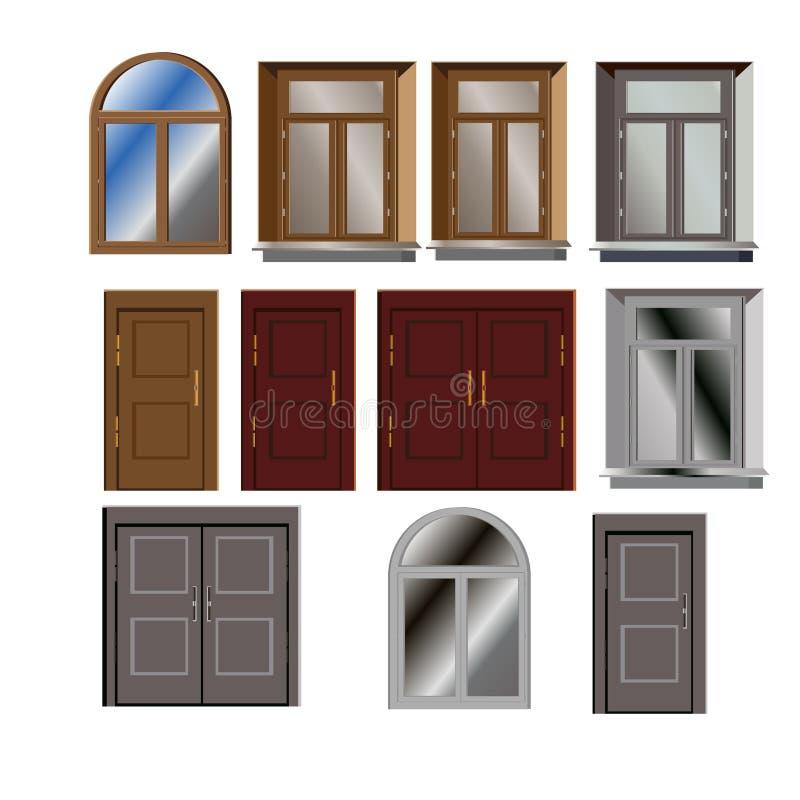 El vector de la puerta y de la ventana fijó para el exterior constructivo stock de ilustración