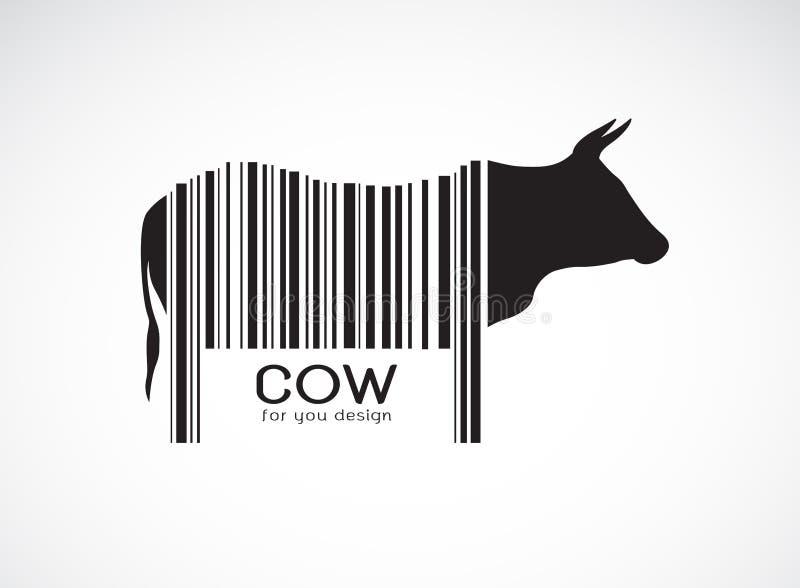 El vector de la vaca en el cuerpo es un código de barras Animales del campo Diseño de la vaca Ejemplo acodado editable fácil del  ilustración del vector
