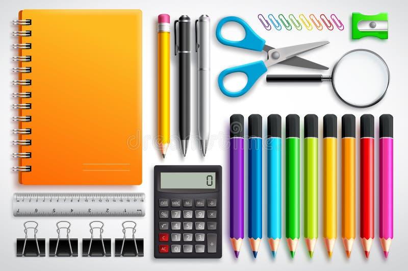 El vector de las fuentes de escuela fijó con el cuaderno, las plumas y los materiales de oficina de los lápices del color ilustración del vector