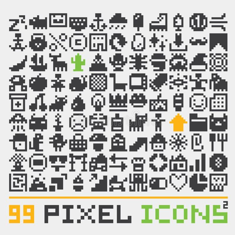 El vector de los iconos del web del arte del pixel fijó 2 stock de ilustración