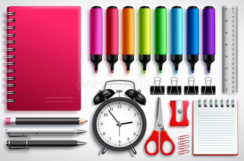 El vector de los materiales de la escuela fijó con las plumas, el cuaderno y los materiales de oficina del colorante aislados en  ilustración del vector