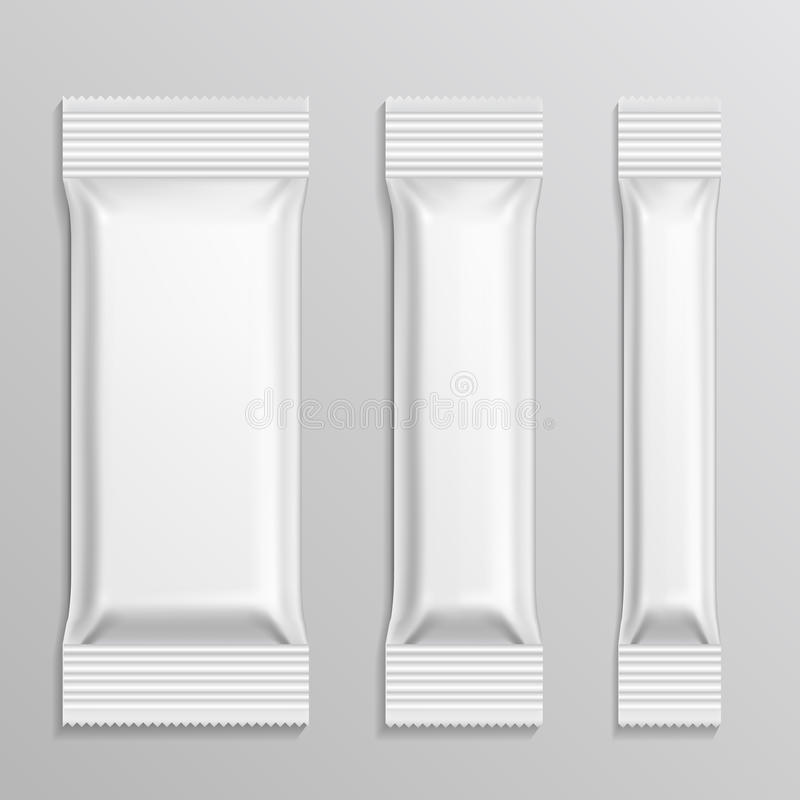 El vector de los paquetes plásticos del palillo fijó para el producto del bocado, café, sal, azúcar, pimienta, especias ilustración del vector