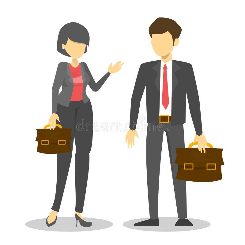 El vector de los pares del negocio aisló Varón y oficina femenina ilustración del vector