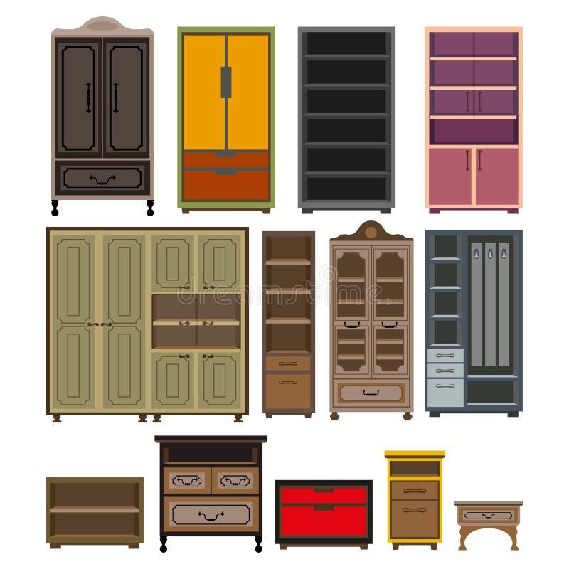 El vector de los pechos del gabinete y del guardarropa de los muebles aisló los iconos planos fijados libre illustration