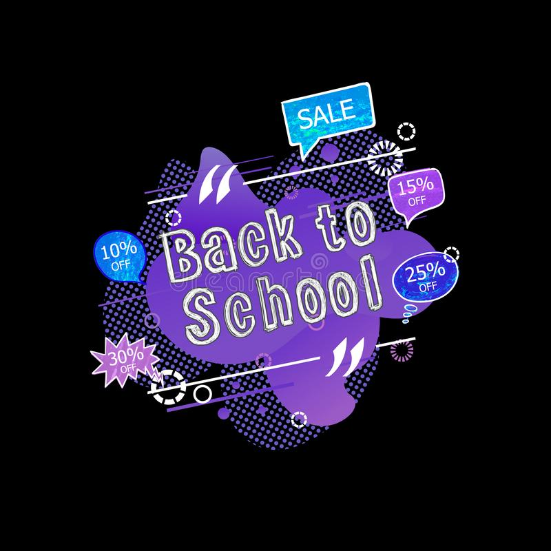 El vector de nuevo a etiqueta de la venta de la escuela, extracto púrpura líquido forma el fondo, burbujas de la charla con el po stock de ilustración