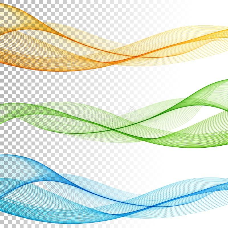 El vector de onda liso abstracto del color fijó en fondo transparente stock de ilustración
