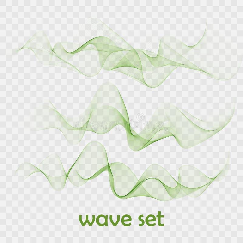 El vector de onda liso abstracto del color fijó en fondo transparente Sistema de la onda verde libre illustration