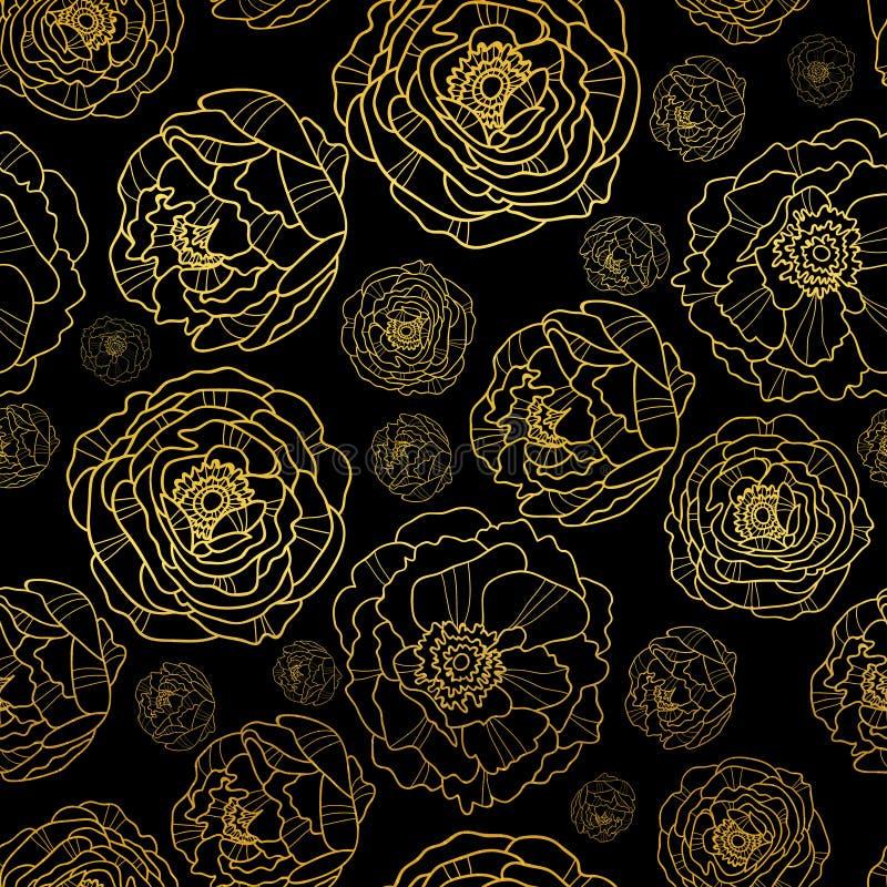 El vector de oro en peonía negra florece el fondo inconsútil del modelo del verano Grande para la tela elegante de la textura del ilustración del vector