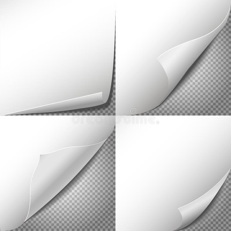 El vector de papel de las esquinas del rizo fijó con el fondo transparente a cuadros libre illustration