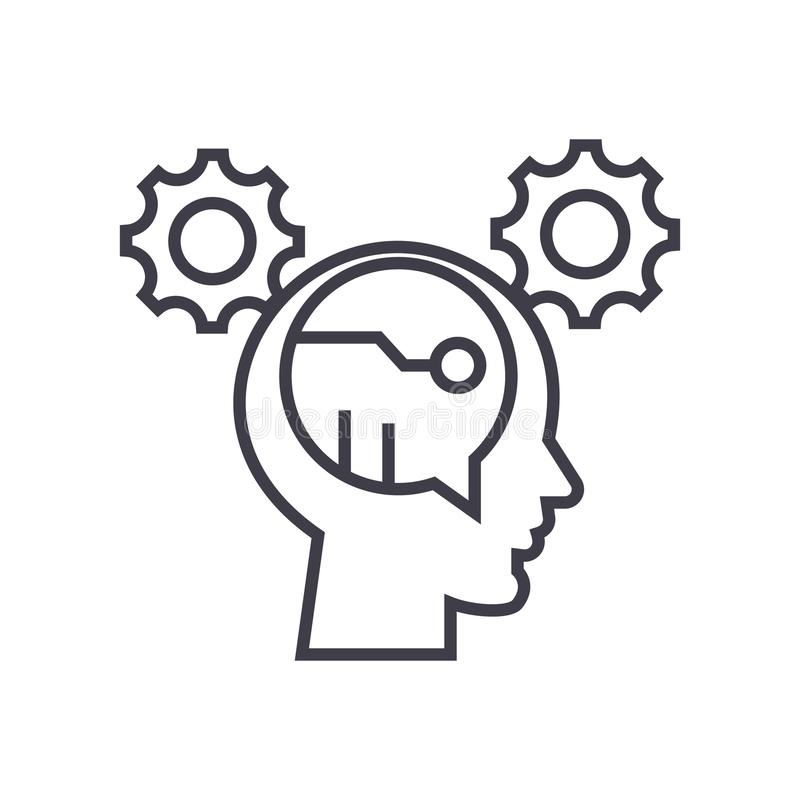 El vector de pensamiento del concepto de Digitaces alinea ligeramente el icono, símbolo, muestra, ejemplo en fondo aislado stock de ilustración