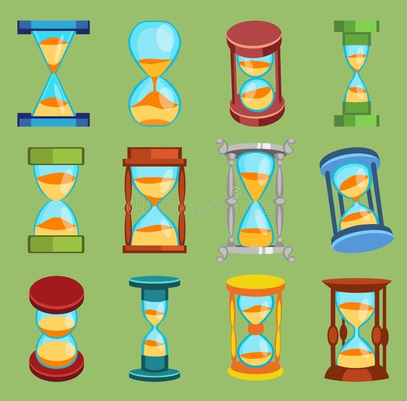 El vector de Sandglass mira los iconos fijados, objeto plano de las herramientas del vidrio del tiempo de la historia del diseño  ilustración del vector