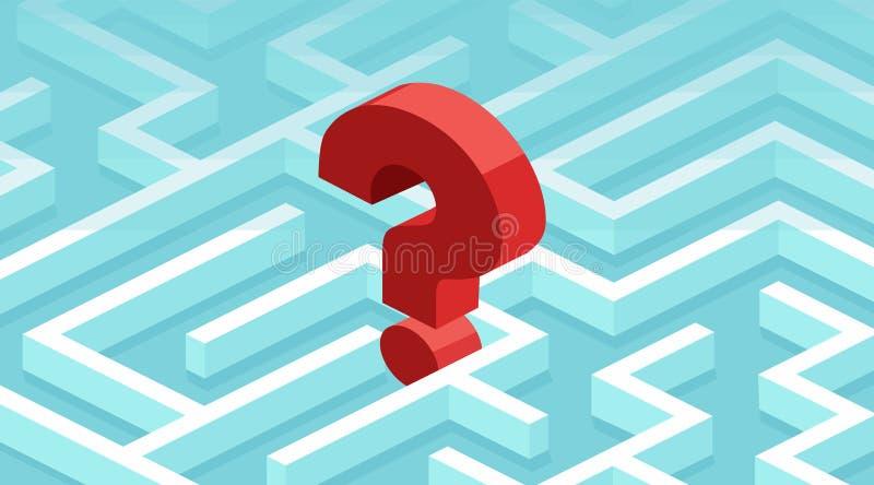 El vector de un signo de interrogación perdió en un laberinto libre illustration