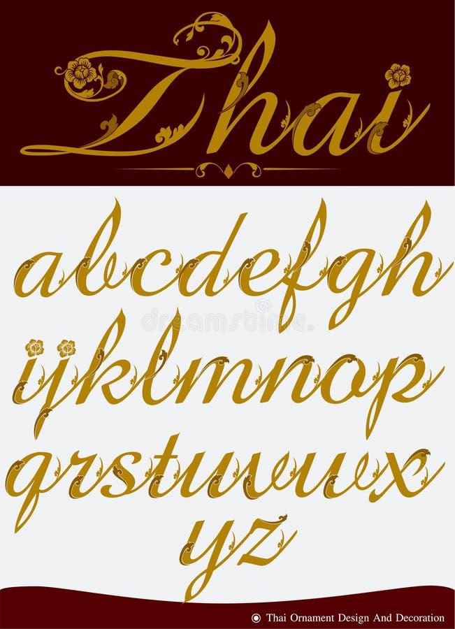 El vector del alfabeto caligráfico tailandés fijó cuatro stock de ilustración