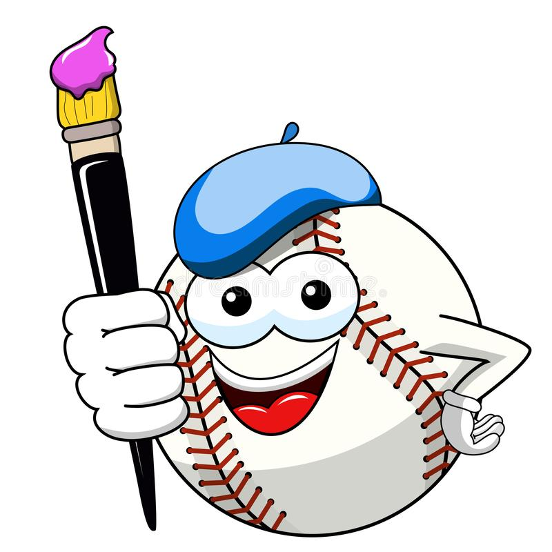 El vector del artista del pintor de la historieta de la mascota del carácter de la bola del béisbol aisló libre illustration