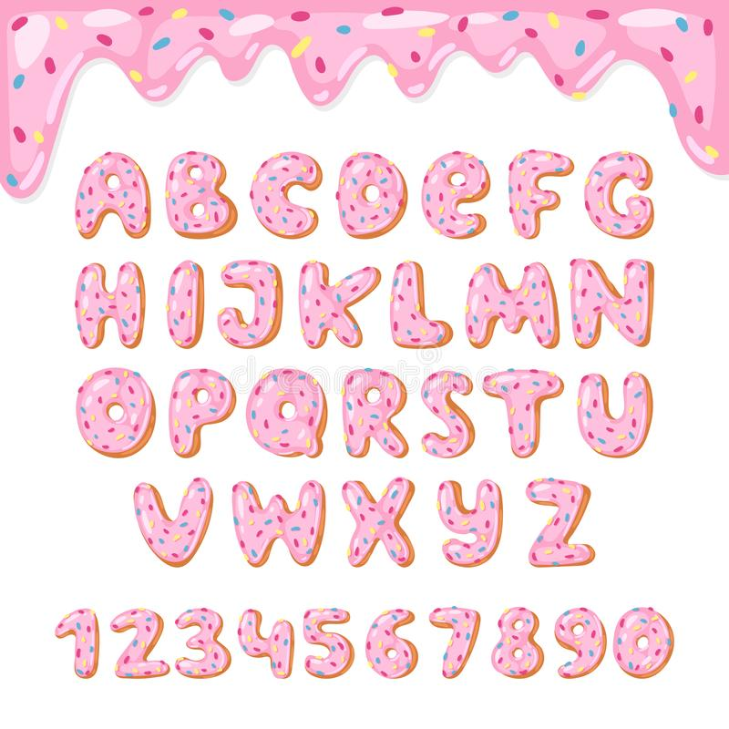 El vector del buñuelo del alfabeto embroma la fuente alfabética ABC de los buñuelos con las letras rosadas y los números esmaltad stock de ilustración