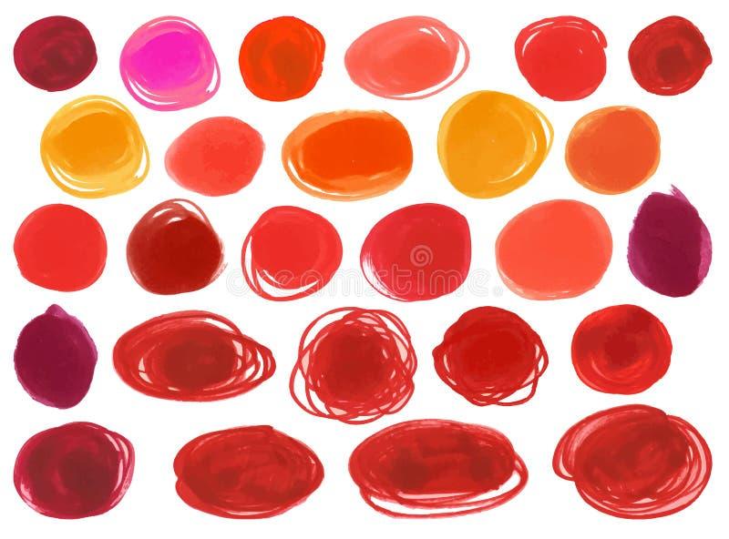 El vector del círculo de marcador del Watercolour texturiza similar al lápiz labial de las mujeres, cosméticos Colores rojos bril ilustración del vector