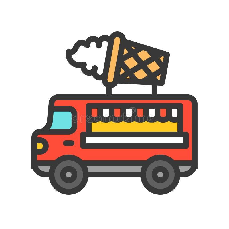 El vector del camión del helado, camión de la comida llenó el icono editable del movimiento del estilo libre illustration