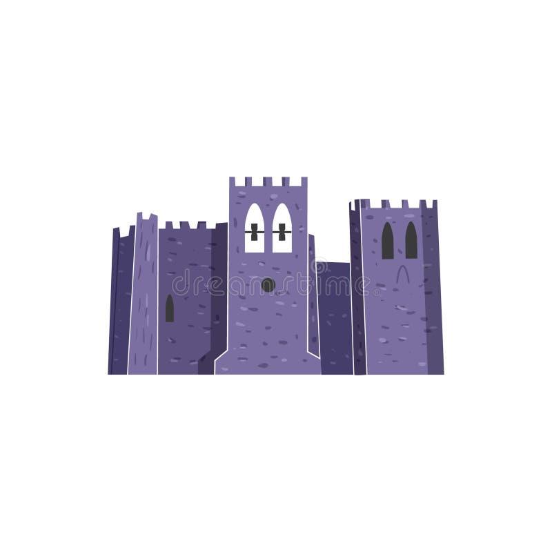 El vector del castillo de la abadía aisló estilo dibujado mano del ejemplo stock de ilustración
