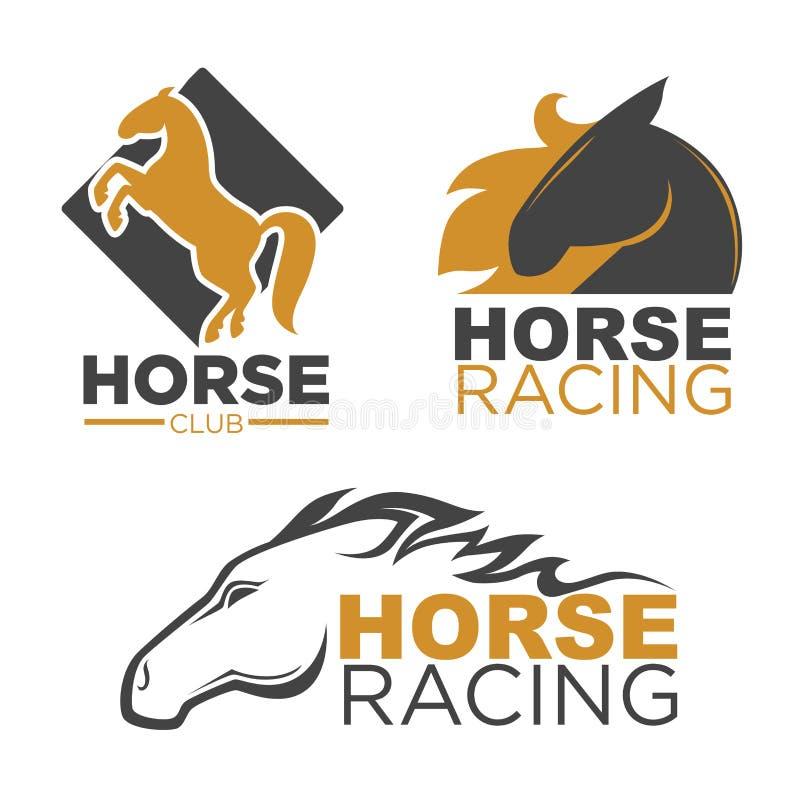 El vector del club de deporte de la carrera de caballos aisló los iconos corrientes del mustango fijados stock de ilustración