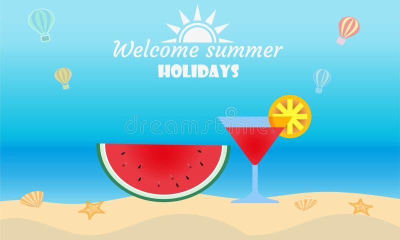 El vector del concepto de la actividad de la playa del verano, da la bienvenida al verano del d?a de fiesta stock de ilustración