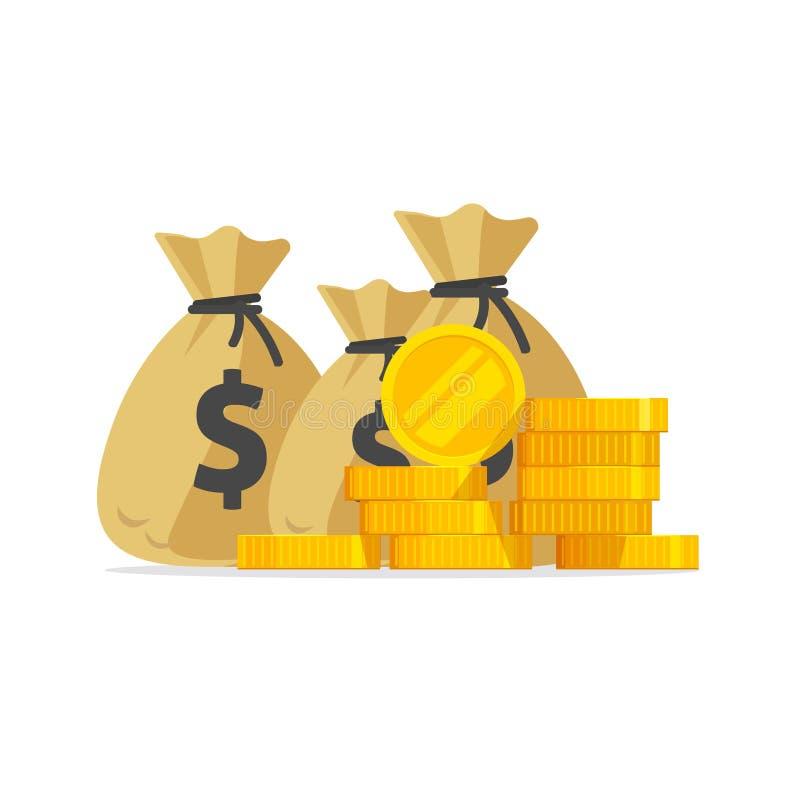 El vector del dinero, la pila grande o la pila de monedas de oro y cobran adentro bolsos, las porciones de dinero aisladas, la id ilustración del vector