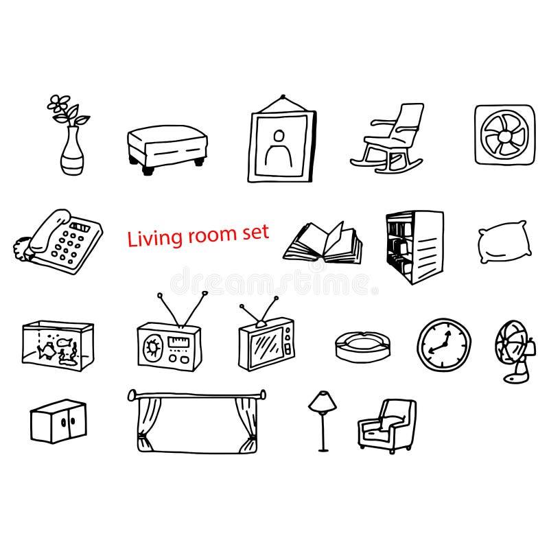 El vector del ejemplo garabatea objetos dibujados mano en sala de estar libre illustration