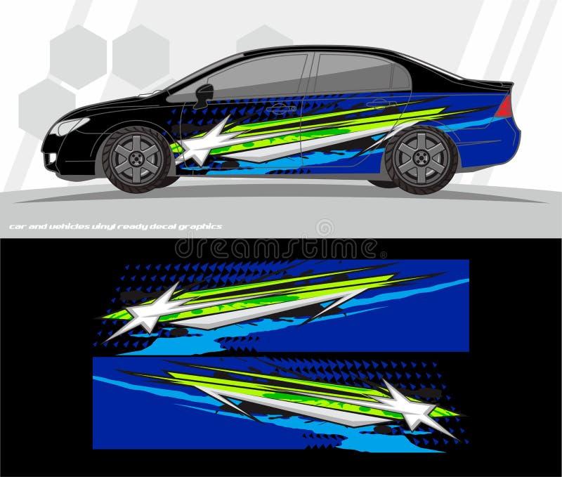 El vector del equipo de los gráficos de la etiqueta del coche y del abrigo de los vehículos diseña aliste para imprimir y para co libre illustration